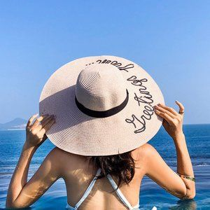 """Summer Wide Brim Floppy Hat With """"Greetings From"""""""